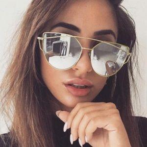 Mirrored Silver Lens Gold Cat Eye Aviator Sunnies